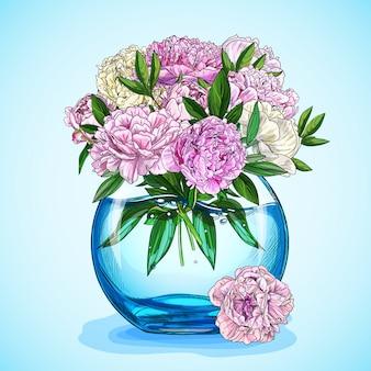 Bujny różowy piwonie bukiet w niebieskim akwarium