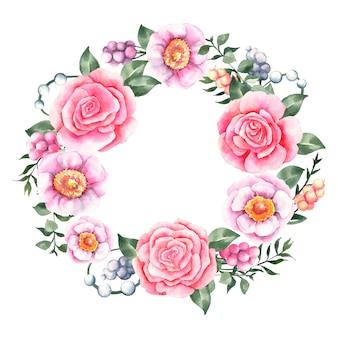 Bujny wieniec kwiatowy w koncepcji akwarela