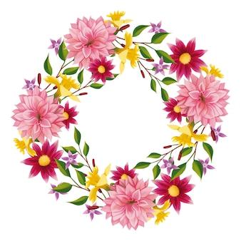 Bujny wieniec kwiatowy w stylu akwareli