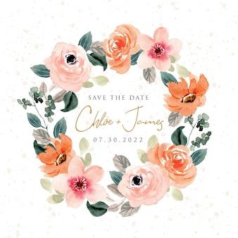 Bujny wieniec z kwiatów brzoskwini