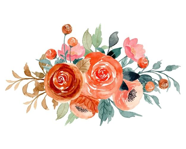 Bukiet akwarela kwiat brzoskwini