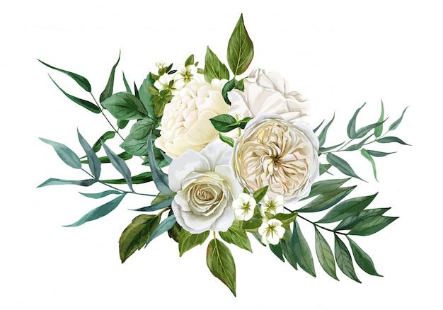 Bukiet białych kwiatów, róż i liści, wyciągnąć rękę