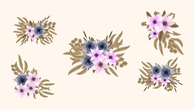 Bukiet bukiety wiosennych kwiatów kolekcja całkiem szczegółowe clipart