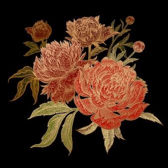 Bukiet czerwonych kwiatów piwonii ze złotym obrysem.