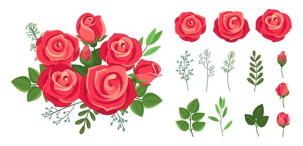 Bukiet czerwonych róż. dekoracje ślubne z kwiatów. vintage na białym tle florystyczne elementy botaniczne. kolekcja kwiatów bukiet kwiatów, kwiatowy kwiat róży do dekoracji ilustracji