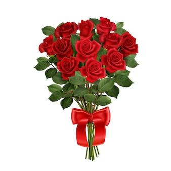 Bukiet czerwonych róż z realistyczną kompozycją wstążki na białej izolowanej ilustracji