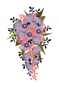 Bukiet dla panny młodej abstrakcyjnych kwiatów.