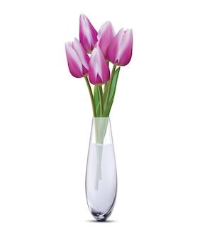 Bukiet fioletowych tulipanów w szklanym wazonie na białym. realistyczna ilustracja