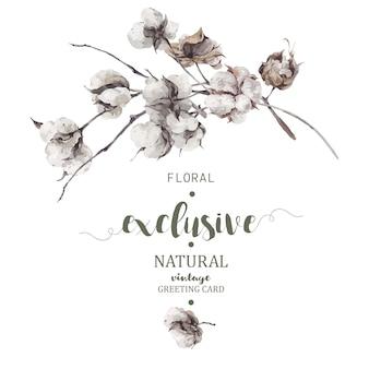 Bukiet gałązek i kwiatów bawełny