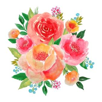 Bukiet kwiatów akwarela piwonia i róża