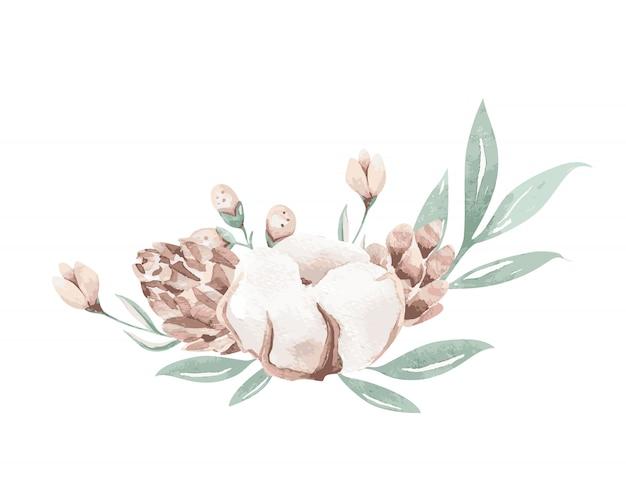 Bukiet kwiatów akwarela z bawełną