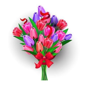 Bukiet kwiatów dzień kobiet 8 marca święto uroczystości banner ulotka lub kartka z życzeniami na białym tle ilustracja