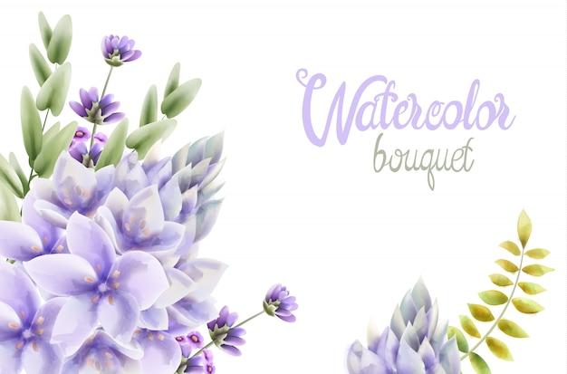 Bukiet kwiatów hiacyntu akwarela