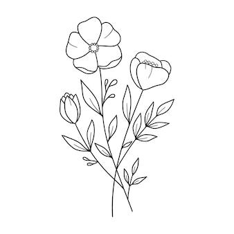 Bukiet kwiatów kwiaty śliczne kwiaty zarys rysunku ilustracja wektorowa linii