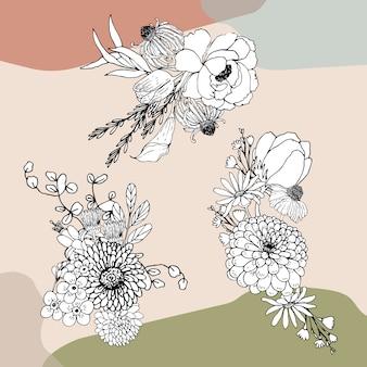 Bukiet kwiatów linii sztuki tropial. dekoracyjne rośliny kwitnące.
