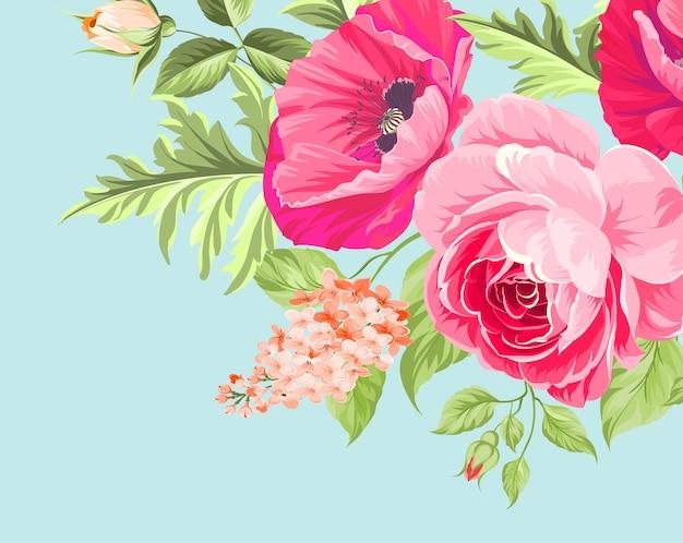 Bukiet kwiatów maku na niebieskim tle.