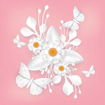 Bukiet kwiatów motyla i białego.