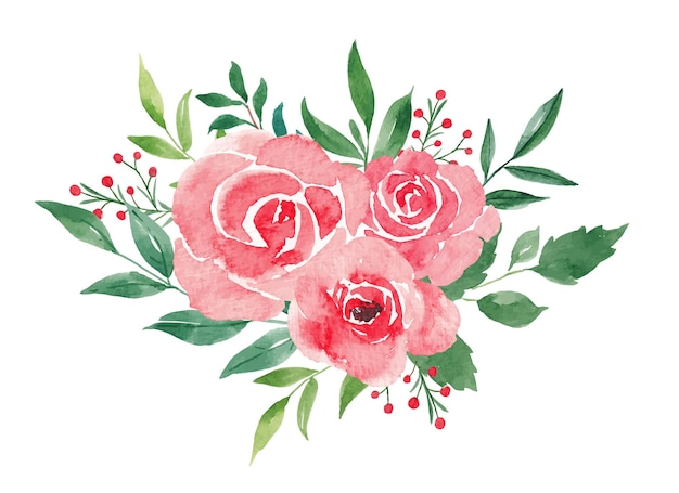Bukiet kwiatów na białym tle botaniczna ilustracja akwarela