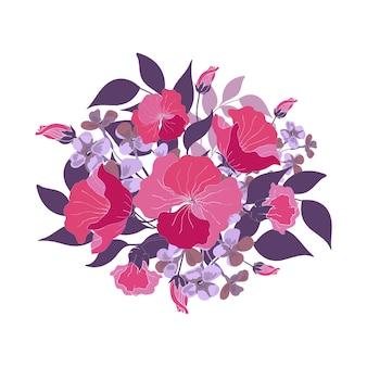 Bukiet kwiatów. różowe, fioletowe, fioletowe abstrakcyjne kwiaty, pąki, niebieskie liście. ilustracja kwiatowy, styl akwareli.