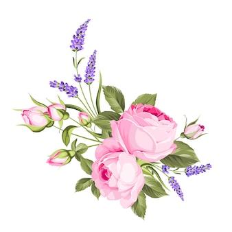 Bukiet kwiatów ślubnych z girlandą koloru pąka.
