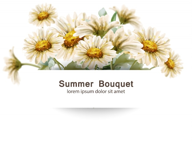 Bukiet kwiatów stokrotka akwarela. szablon karty bukiety kwiatowe lato wystrój