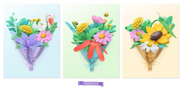 Bukiet kwiatów. sztuka plasteliny. zestaw ikon 3d