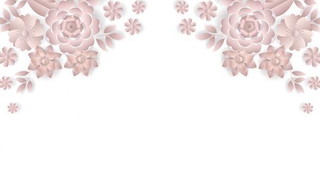 Bukiet kwiatów w stylu wycinanki w kolorze różowym