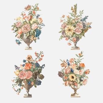Bukiet kwiatów w wazonie wektor zestaw vintage ilustracji