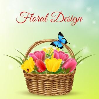 Bukiet kwiatów w wiklinowym koszu