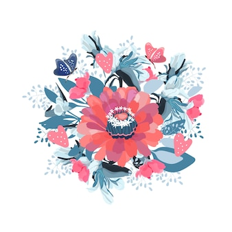 Bukiet kwiatów z motylami i sercami.