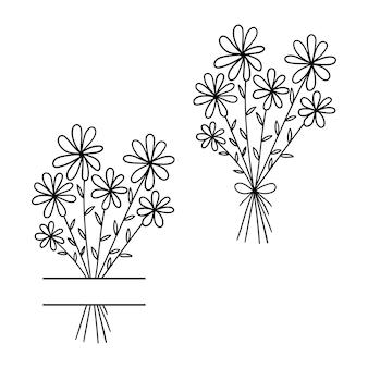 Bukiet kwiatowy bukiet stokrotek zarys rysunku linia wektor ilustracja