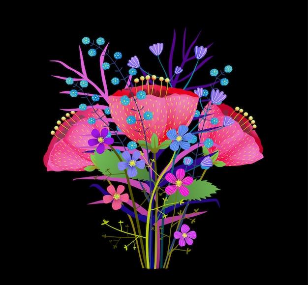 Bukiet letnich kwiatów ilustracji. streszczenie kwiaty maku na białym tle clipart. wiosenna flora, gałązki dzikich kwiatów. zioła i liście botaniczne elementy projektu. różowe piwonie, tulipany, rysunek