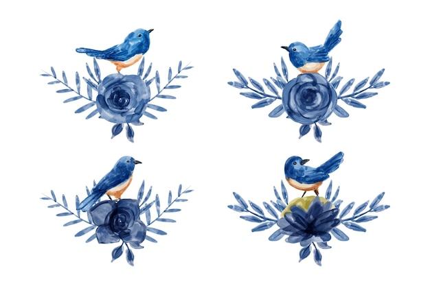 Bukiet niebieskich kwiatów i ptaków z akwarelą