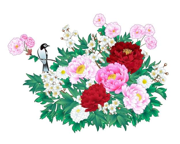 Bukiet piwonii z kwitnącą śliwką i ptakiem