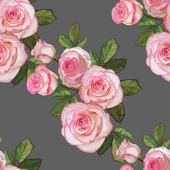 Bukiet róż w kolorze biało-różowym