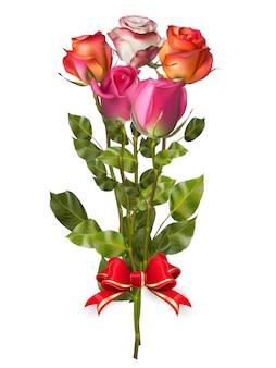 Bukiet róż z czerwoną kokardką.