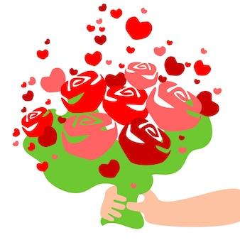 Bukiet róż z sercami w dłoni