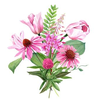 Bukiet różowych kwiatów ogrodowych z tulipanami i koniczyną