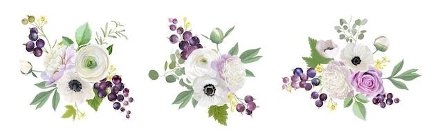 Bukiet ślubny kwiatowy zestaw. czarna porzeczka, piwonie, zawilce, kwiaty róży, owoce jagodowe, ilustracja liści. wektor elementy graficzne szablon akwarela dla zapisz datę, nowoczesne zaproszenie