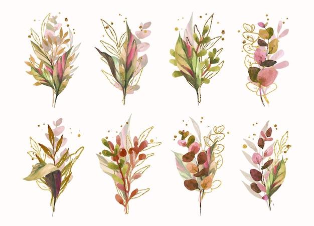 Bukiet ślubny z jesiennych liści tropikalnych ze złotymi rozpryskami na białym tle w kolekcji w stylu akwareli
