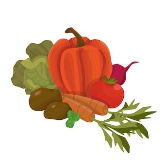 Bukiet świeżych warzyw sezonowych na białym tle ilustracja w stylu cartoon