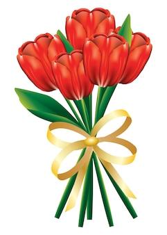 Bukiet tulipanowy z kokardą