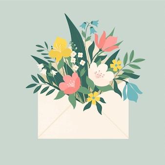 Bukiet wiosennych kwiatów wewnątrz koperty i innych elementów dekoracyjnych. płaska konstrukcja. styl cięcia papieru.