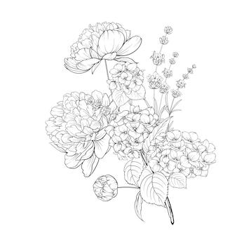 Bukiet wiosennych kwiatów z hortensją i kwiatami lawendy.