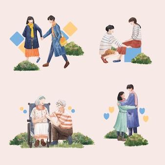 Bukiet z raju miłość koncepcja projekt akwarela ilustracja