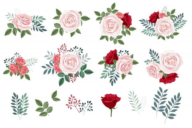 Bukiet z róż i liści, kolekcja elementów w kwiatowy wzór