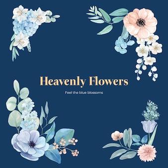 Bukiet z spokojną koncepcją niebieskiego kwiatu, w stylu akwareli
