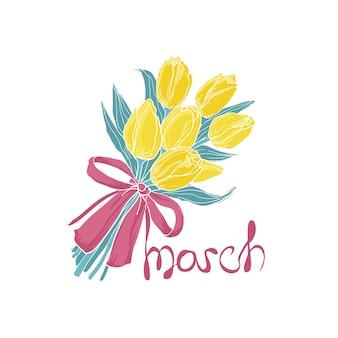Bukiet żółtych tulipanów przewiązany elegancką różową wstążką i napisem 8 marca.