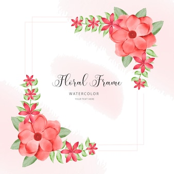 Bukiety akwarela kwiatowy ramki brzoskwini i bordo róż i liści
