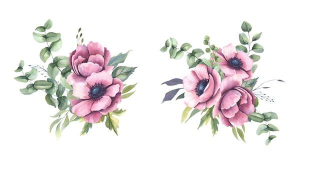 Bukiety akwarelowe z różowymi kwiatami, zawilcami.